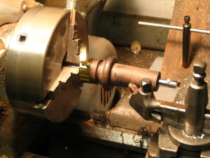 Cello endpin fitting with a machine lathe